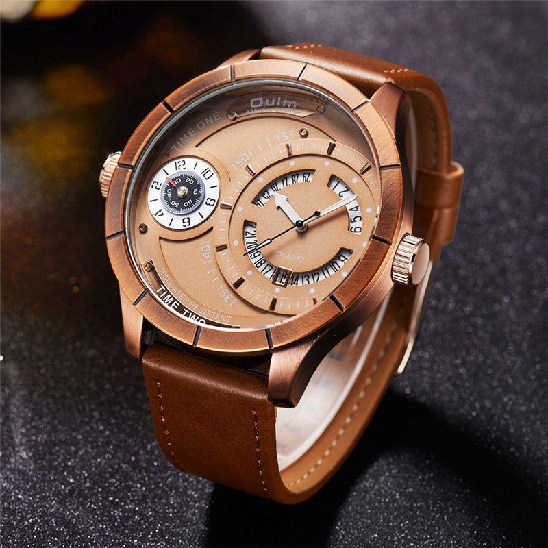 Oulm Cool Design Two Time Zone Watcges Men Top Brand Luxury Male Quartz Calendar Watch Casual Men's Military Wristwatch