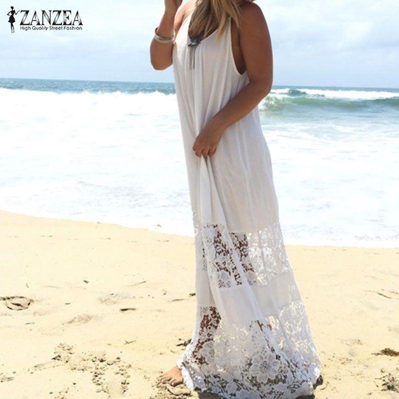 ZANZEA femmes 2019 été dentelle décontracté lâche longue Maxi solide robe Sexy bretelles plage robes de grande taille sans manches robes