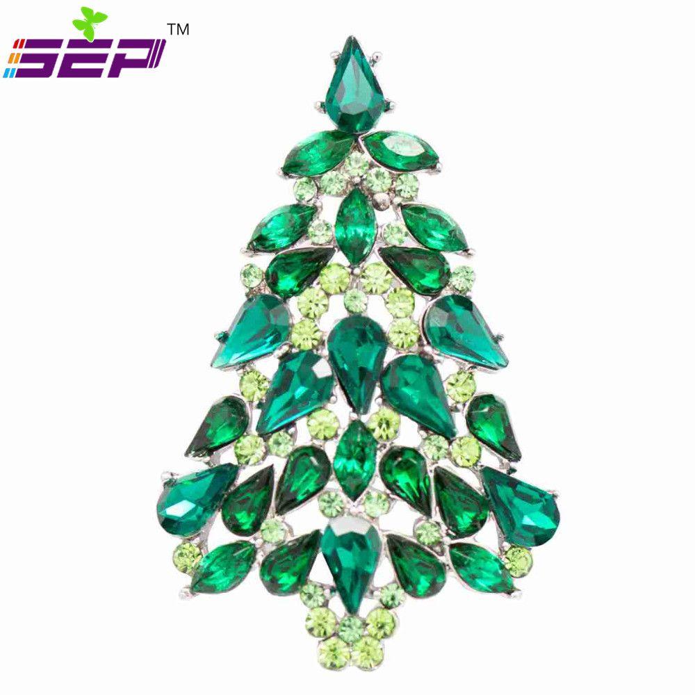 Cristaux autrichiens strass arbre de noël broche broches broches pour les femmes de noël fête bijoux accessoires 6 couleur P5458