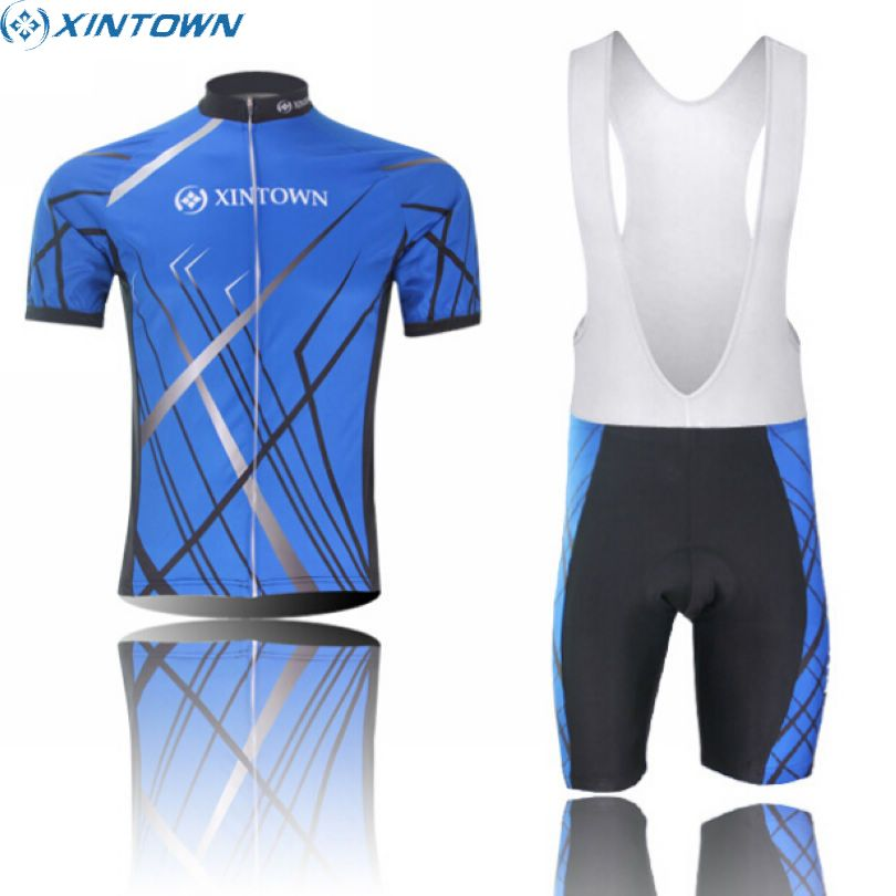 XINTOWN Mens Ropa Ciclismo Short Sleeve Bicycle Clothing Blue Bike Team Cycling Jersey Bib Shorts Outfits Sets S-5XL