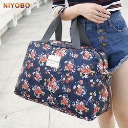 Mujeres Bolsas de viaje mano Bolsas 2017 nueva moda portátil equipaje impresión floral lona Bolsas semana impermeable duffle bag