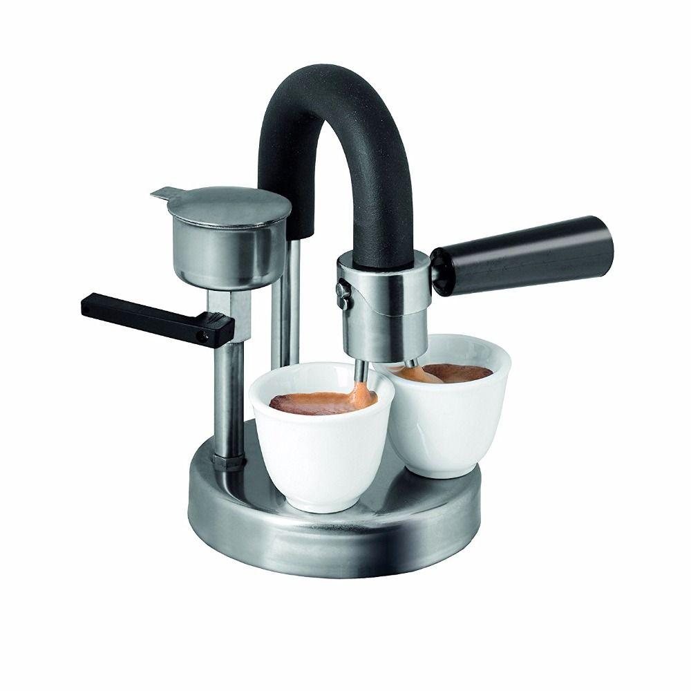1 pc moka topf 1-2cups Herd Induktion Herd Espresso Maker Reine handgemachte edelstahl kaffee topf für home office verwenden