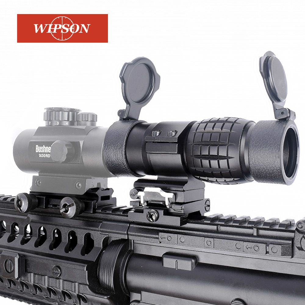 WIPSON Optic sight 3X Magnifier Scope Compact Hunting Riflescope Sights with <font><b>Flip</b></font> Up cover Fit for 20mm Rifle Gun Rail Mount