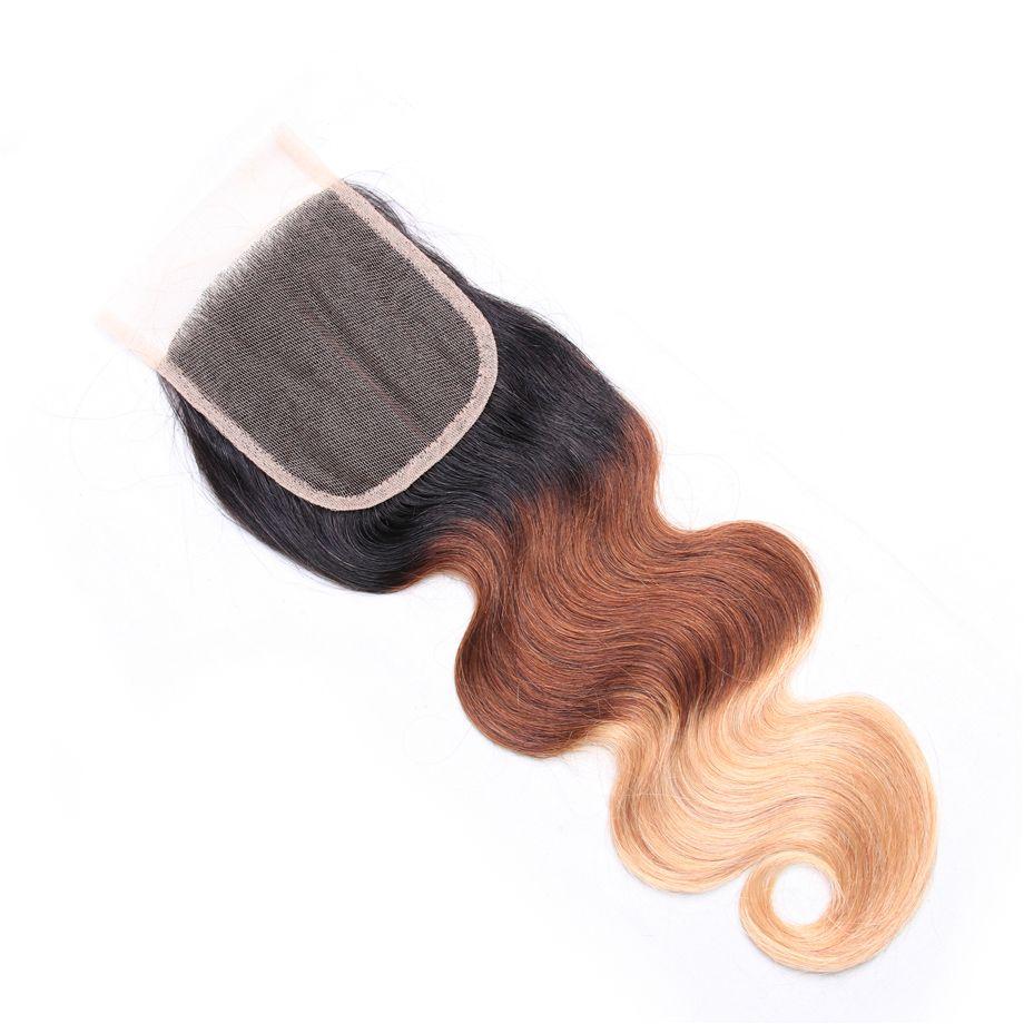 Bling del pelo del cordón de cierre 4x4 onda del cuerpo del pelo de Remy