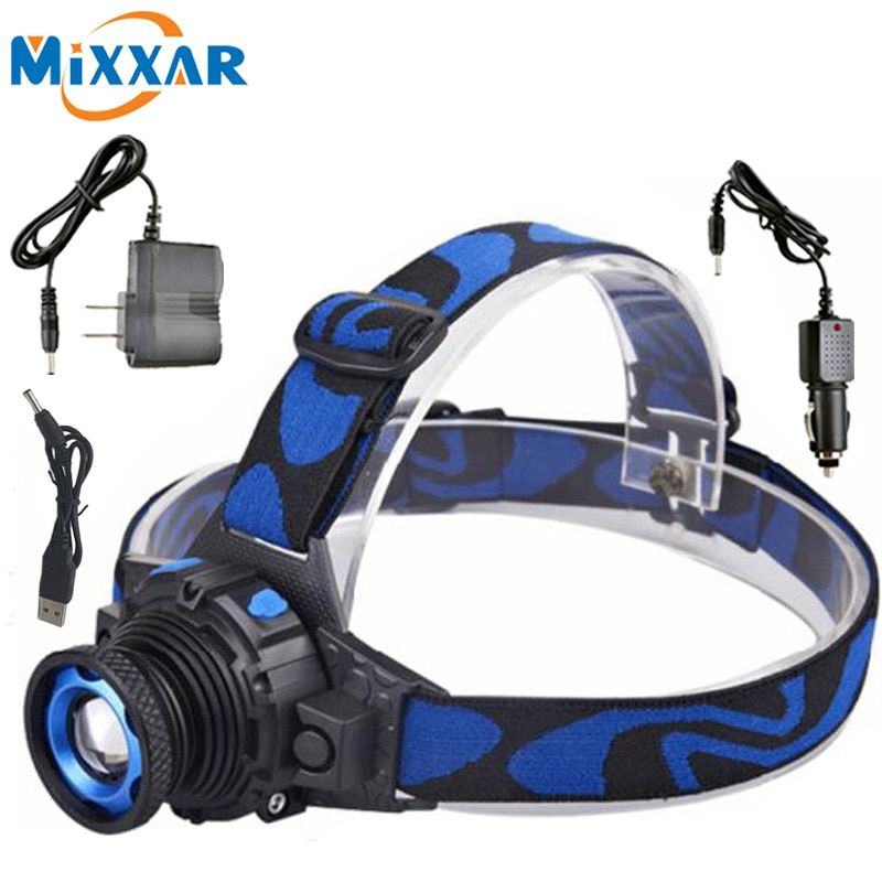 Rechargeable Cree Q5 Waterproof 3 Modes Zoomable LED Headlight Headlamp High Bright Built-in Lithium Battery Head lamps Torch