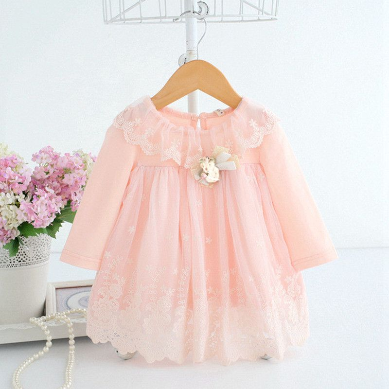 Baby Girl Dress 0-2Y Newborn Cute Baby Embroidery Cotton Dress Infant Baby <font><b>Birthday</b></font> Dress Baby Clothes with Toy Bear 2 Color