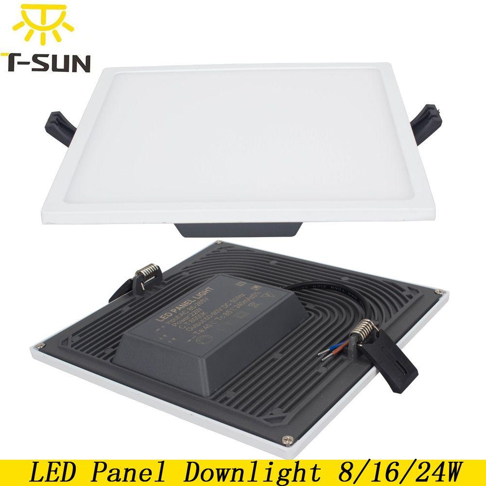T-SUNRISE Ultra Mince LED Panneau Downlight 8 w 16 w 24 w Carré Encastré Lumière Éclairage Intérieur LED lampes sur le plafond Luminaires