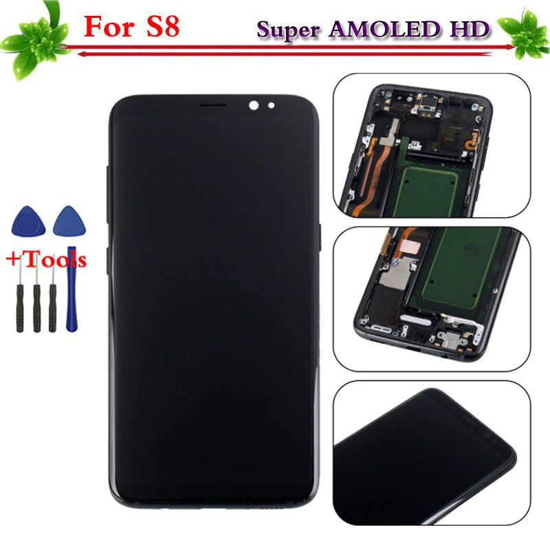 100% Tested Super AMOLED for Samsung Galaxy S8 LCD display touch screen digitizer Replacement Assembly with frame G950 G950F