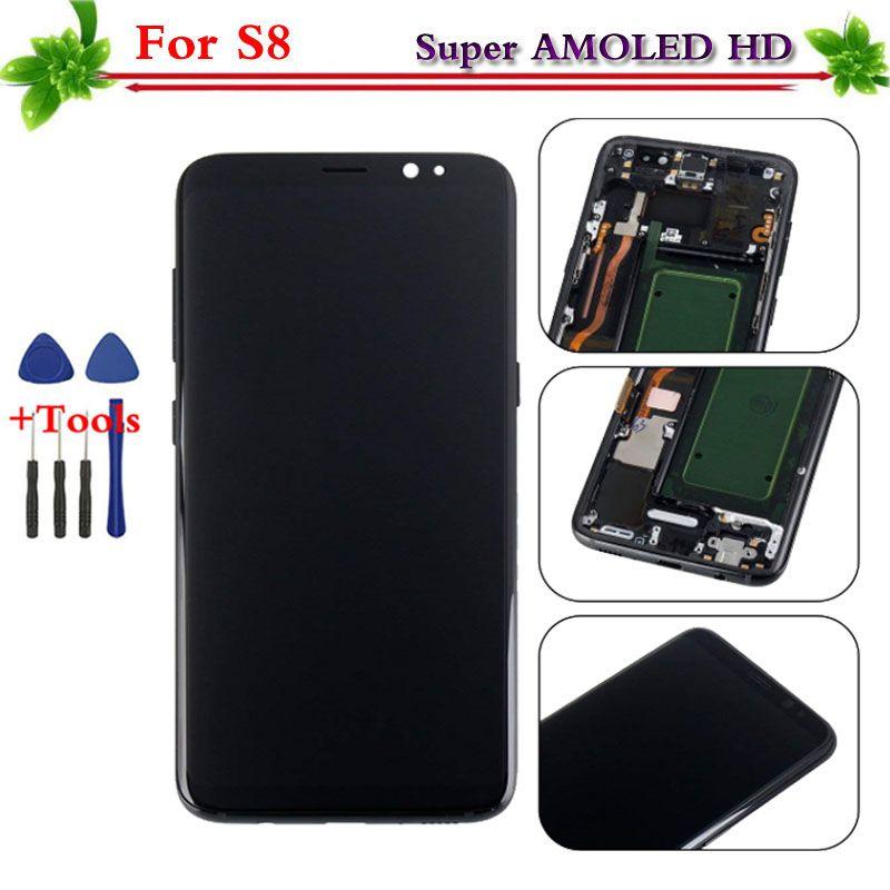 100% getestet Super AMOLED für Samsung Galaxy S8 LCD display touchscreen digitizer Ersatz Montage mit rahmen G950 G950F