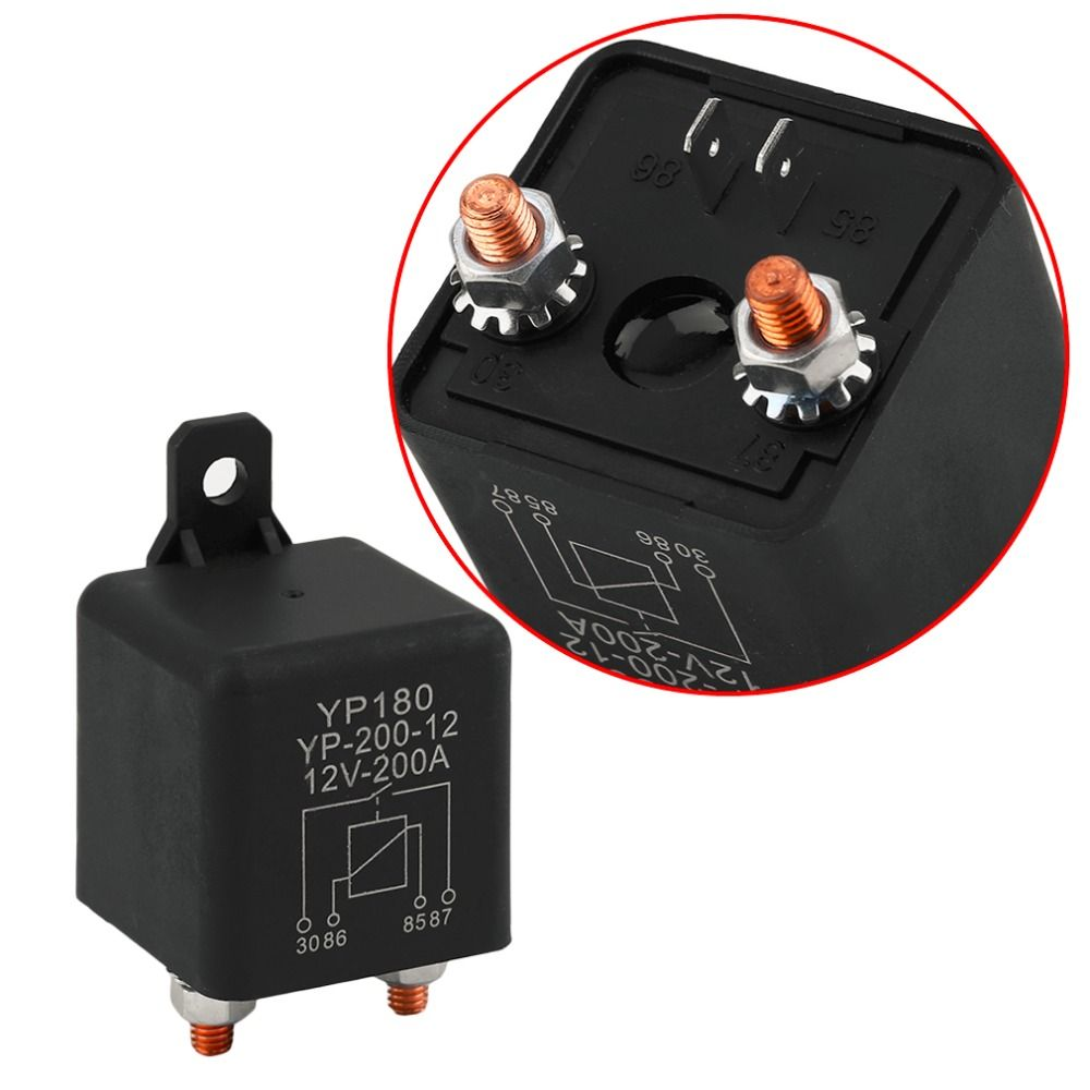 Universal 12V-200A Auto Car Relay High Curent Car Truck Motor Continuous Type Replay Device For Vehicles Black