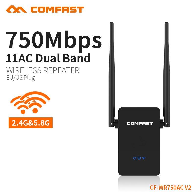 COMFAST 750 Mbps sans fil répéteur wi-fi amplificateur de signal de routeur 5 Ghz dual band réseau 10dbi Antenne Range extender CF-WR750AC