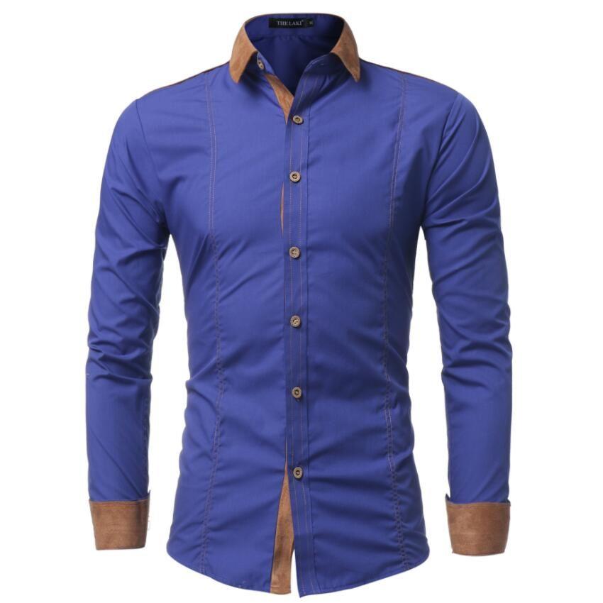 Men's Casual Shirts 2017 Brand Long Sleeve Shirts Slim Fit White Dress Shirt Stitching Clothing Camisa Masculina Big Size M-XXXL