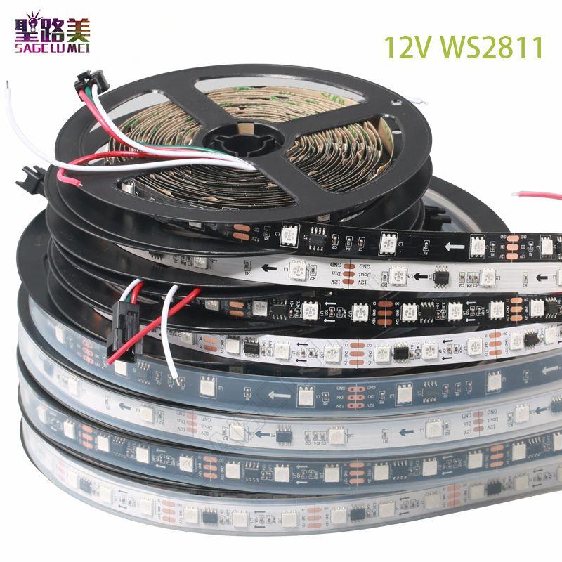 DC12V SMD5050 Flexible RVB adressable 30/48/60 leds/m ws2811 pixels led lumières de bande bande externe ic, 1 ic contrôle 3leds