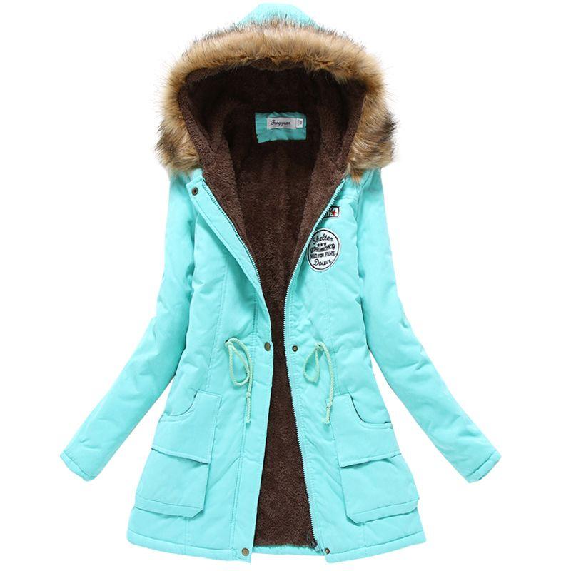 2018 winter jacket women wadded jacket female outerwear slim winter hooded coat long cotton padded fur collar parkas plus size