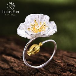 Lotus Fun Real 925 Sterling Silver Adjustable Ring Handmade Designer Fine Jewelry Blooming Poppies Flower Rings for Women Bijoux
