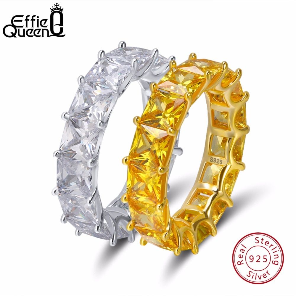 Effie Queen Charm 925 Sterling Silver Ring For Women Crystal Engagement Wedding Jewelry Couple Rings For Lover Size 6 7 8 9 BR48