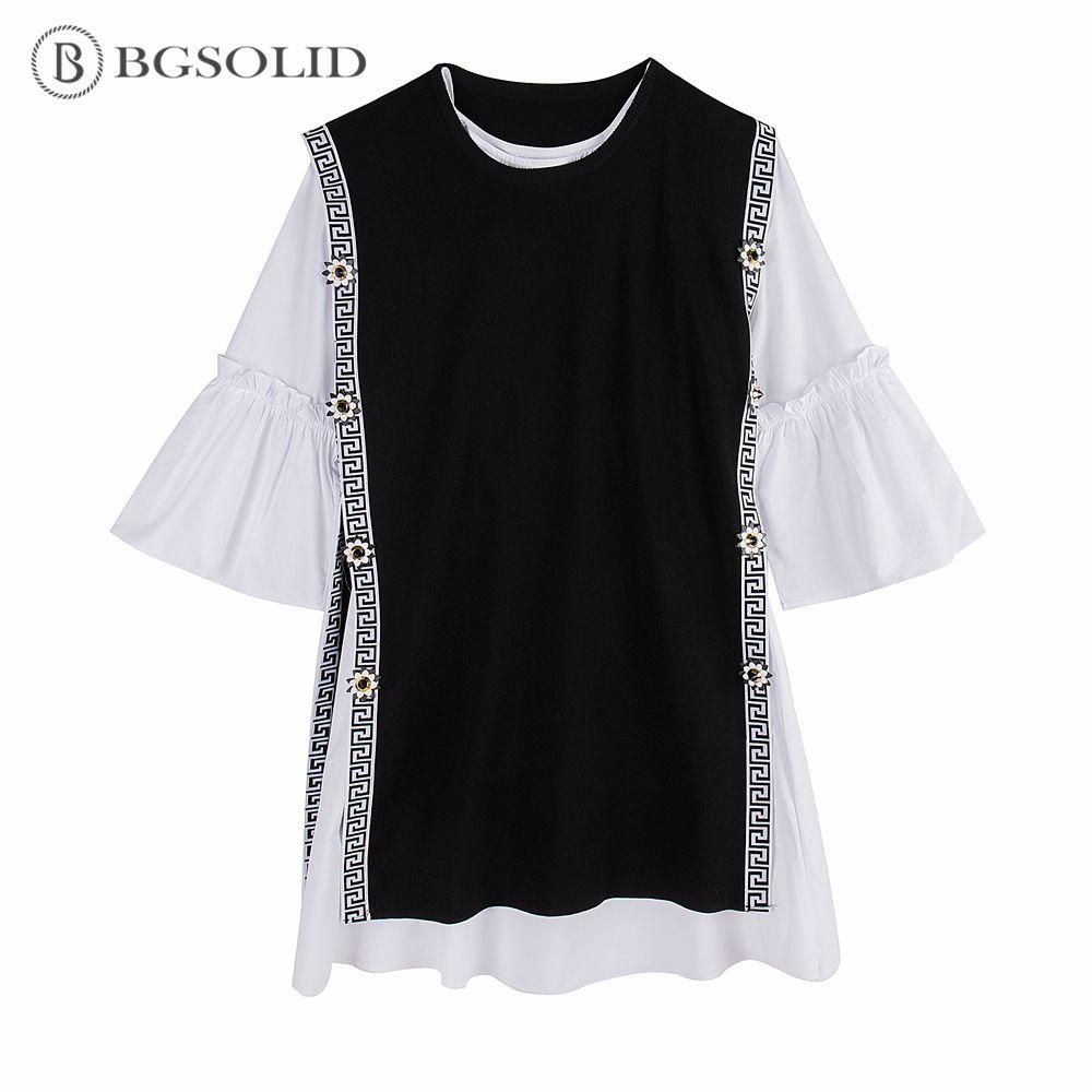 BGSOLID Printemps 2019 nouvelle fleur de split en tricot gilet + évasée manches chemise robe deux-pièce ensemble