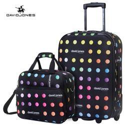 DAVIDJONES 2 unidades 20 pulgadas de equipaje ruedas fijas cabina maleta vintage carretilla valise cabine