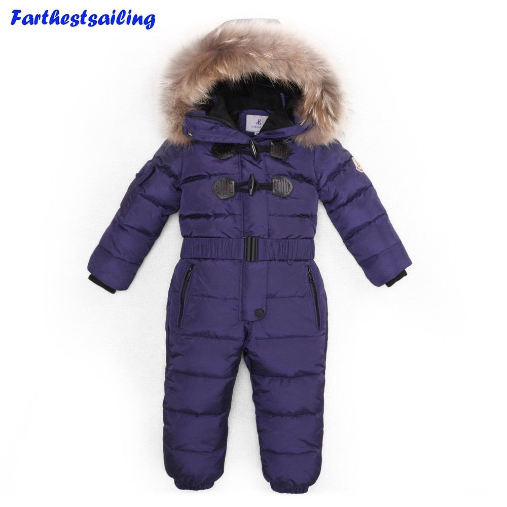 -30 Degree Winter Children Jumpsuit Down Jacket For Girl clothes  Boy Outerwear Coat Thicken Waterproof Snowsuits Kids Ski Suit