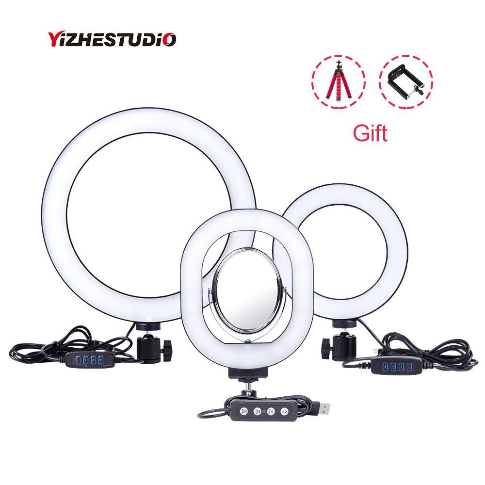 Yizhestudio 6 /10 anneau lumière Dimmable LED Selfie anneau lumières pour Studio en direct maquillage photographie avec trépieds gratuits Clip de téléphone