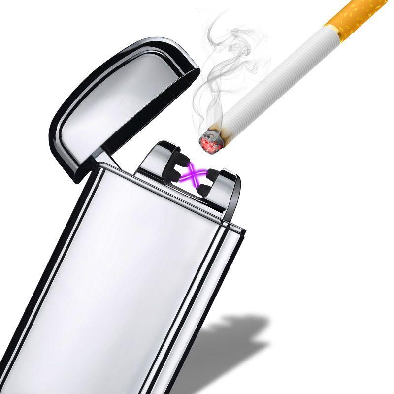 Double Arc Électronique USB Briquet Sans Flamme Allume-cigare Secouer D'allumage Plasma Rechargeable Léger Fumeurs Gadgets pour les hommes