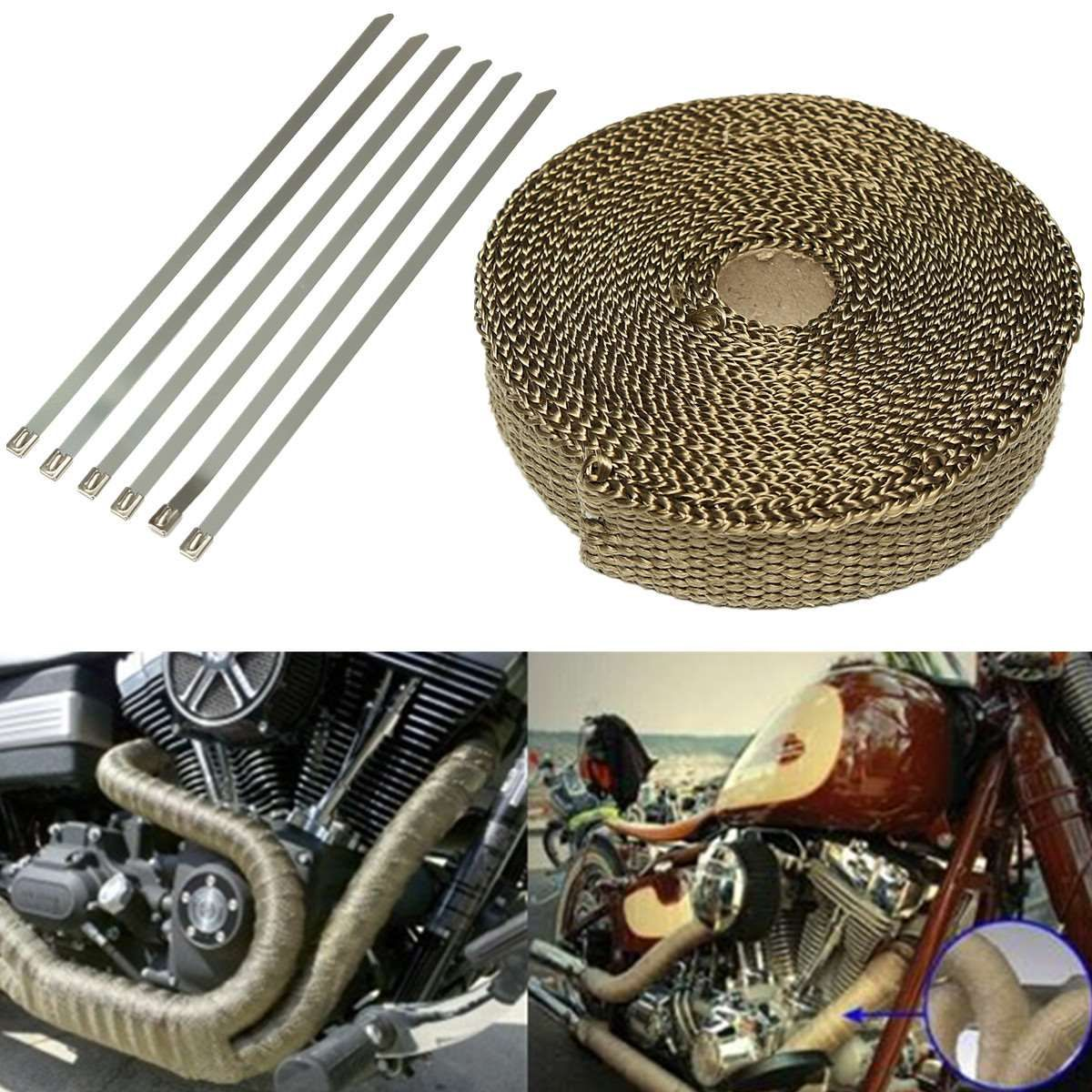 Motorcycle Car Basalt Fiber Insulation Clothes Exhaust Heat Wrap Turbo Pipe Heat Insulated Wrap With 6 Stainless Ties