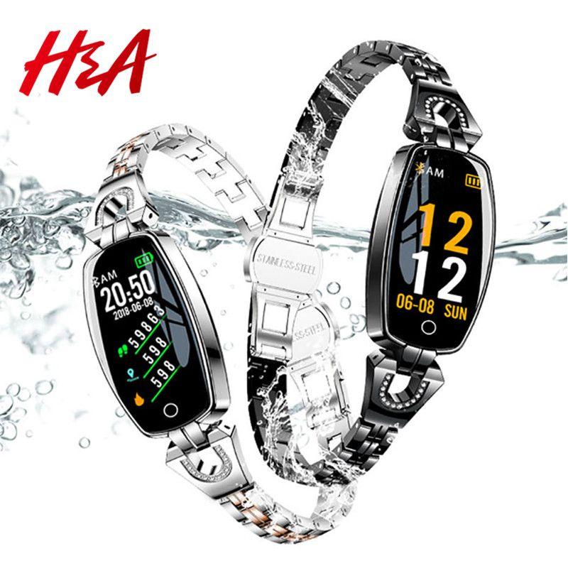 H & A H8 Bracelet Fitness Sport montre intelligente 2019 étanche surveillance de la fréquence cardiaque Bluetooth pour iOS Android Smartwatch femmes cadeau