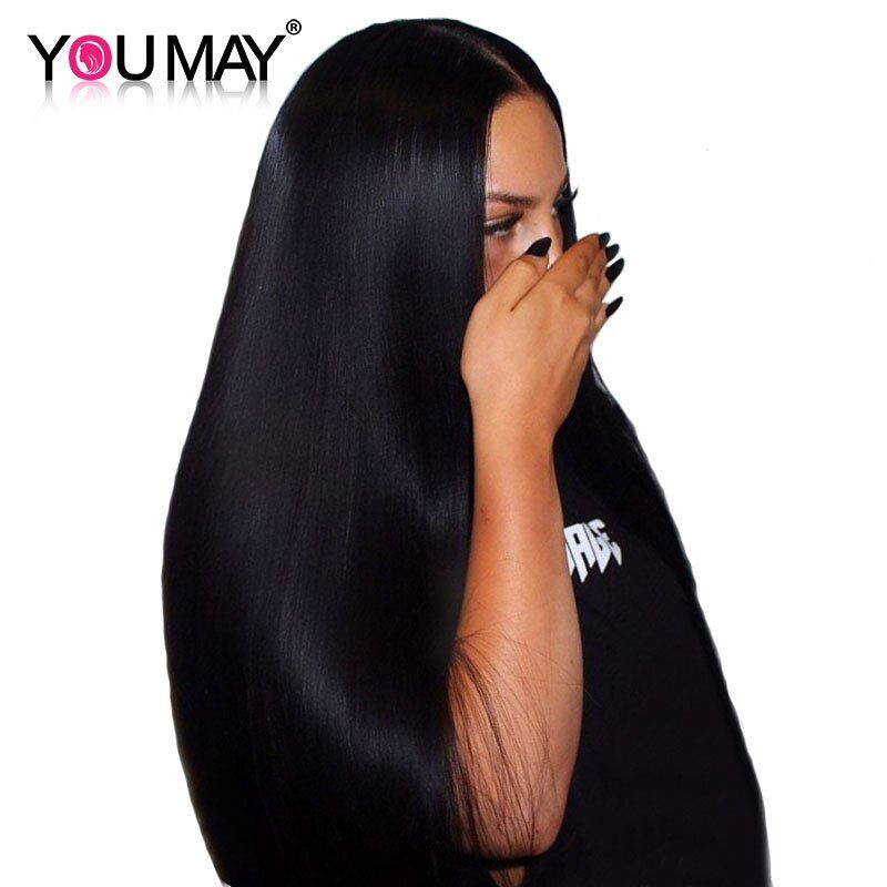 13x4 Lace Front <font><b>Human</b></font> Hair Wigs With Baby Hair 250% Density Straight Lace Front Wigs Brazilian Remy Hair Bleached Knots You May