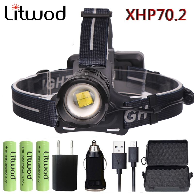 Litwod Z932808 Original XLamp XHP70.2 LED 32W zoom Led headlamp 4292lm The best brightest powerful head lamp flashlight lantern