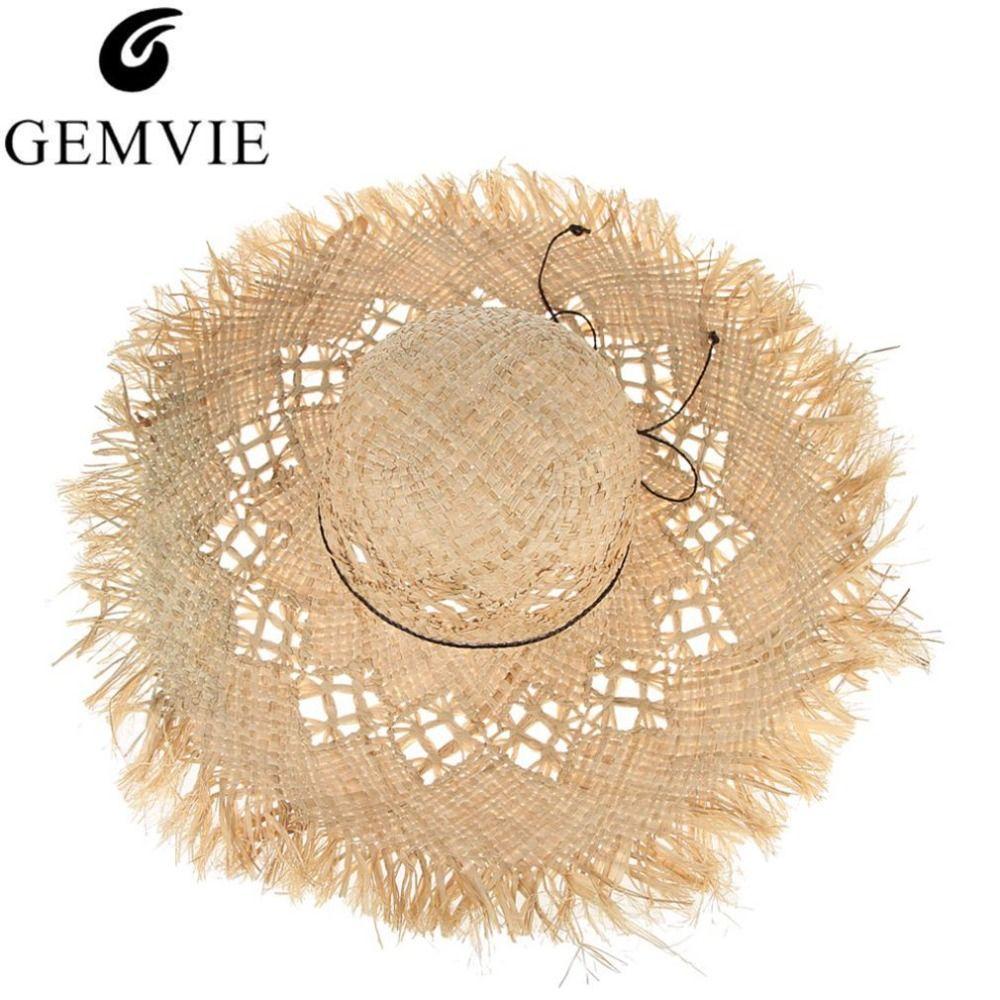 GEMVIE nouvelle mode Large Bord chapeaux en paille Pour Femmes Évider Plage Sunhat Dames chapeaux de soleil casquettes été Fluff Disquette chapeaux d'été