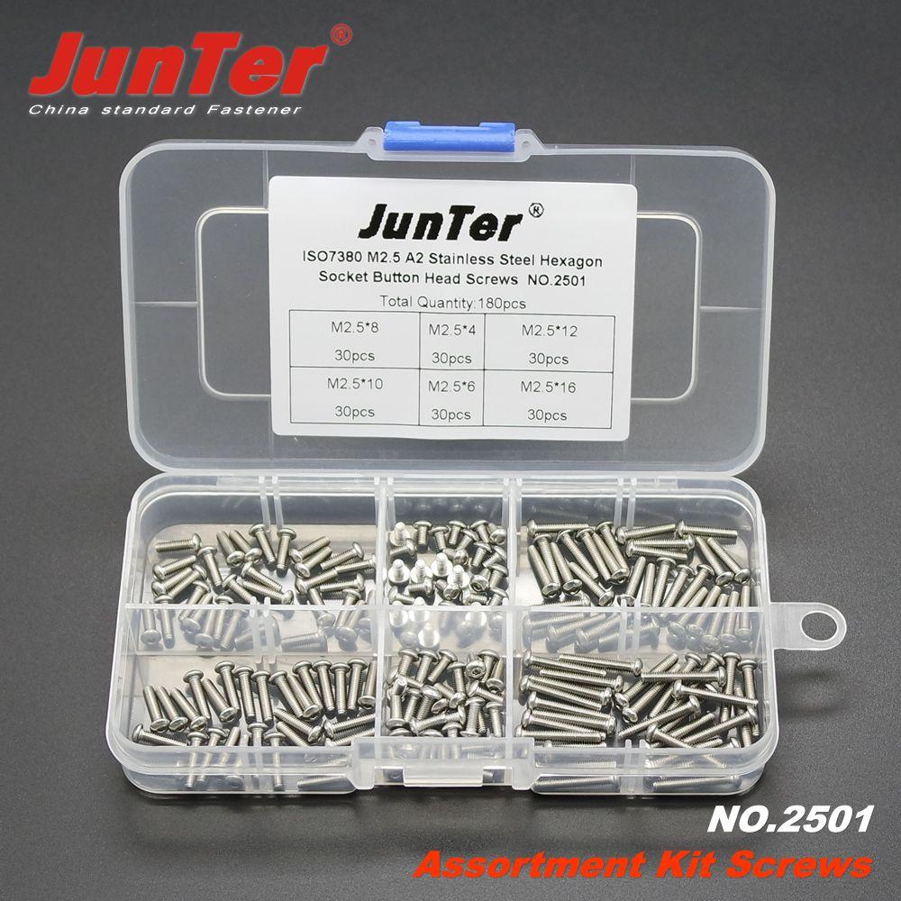 180 pièces M2.5 (2.5mm) A2 En Acier Inoxydable ISO7380 Bouton Tête Allen Boulons À Six Pans Creux Vis Assortiment Kit NO 2501