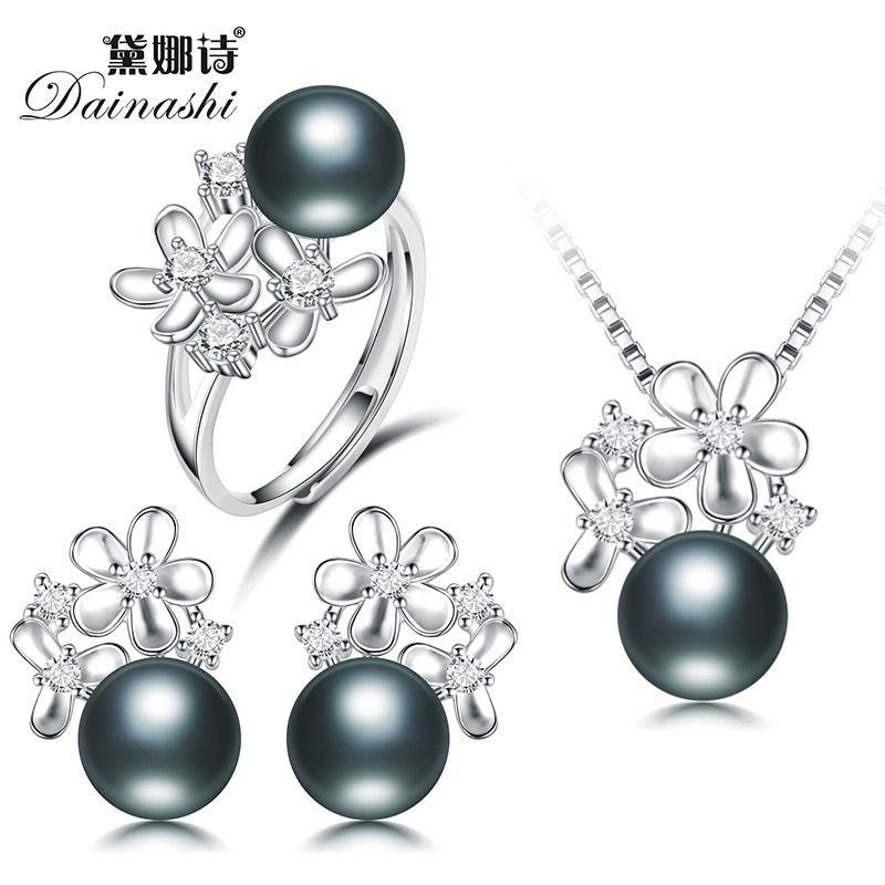 2017 Autumn New Graceful Black Pearl Flower Jewelry Set, (Ring, Earring, Necklace) Women Fine Pearl Jewelry Sets Free Shipping