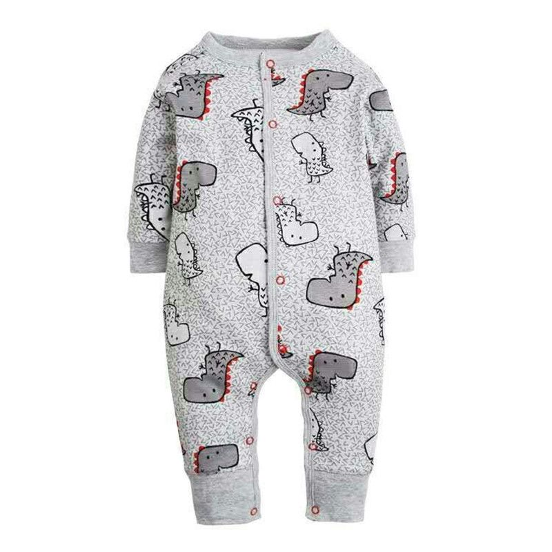 2017 New Fashion Newborn Baby Ropmer Cartoon Car Long Sleeve Baby Boy Girl Clothes 100% Cotton Sleepwear Baby Rompers Free ship