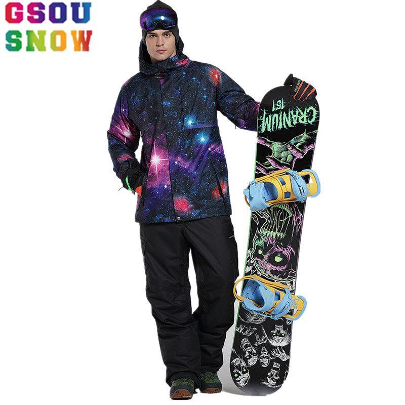 GSOU SCHNEE Skianzug Männer Skijacke Hosen Wasserdicht Mountain Ski Anzug Männlichen Winter Außen Snowboard Jacke Günstige Sport Mantel