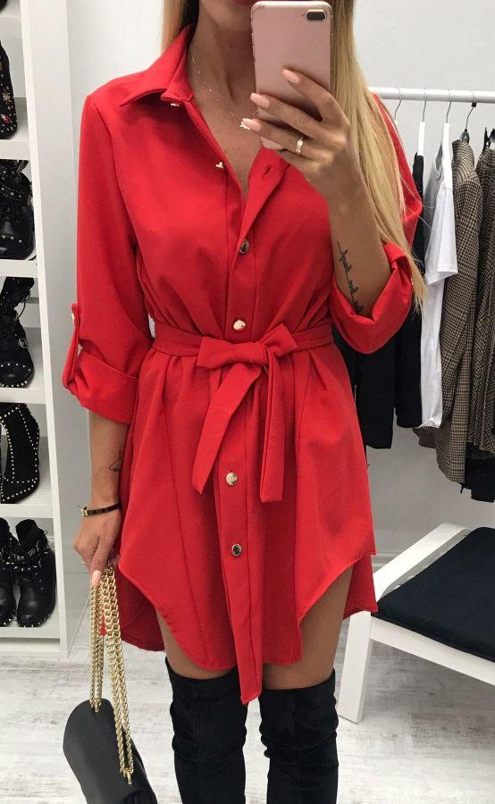 Shirt Dress Women's fashion Long Sleeve Mini Dress Button Irregular Bandage Dress Turn Down Collar Office Dress WS4705E
