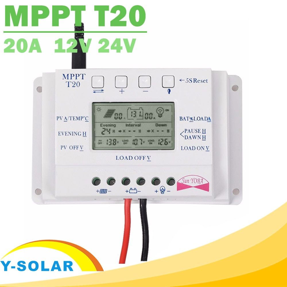 Solar Charge Controller 12V 24V 20A Solar Panel Battery Regulator with Load Light and Timer Control Big LCD Display T20 Y-SOLAR