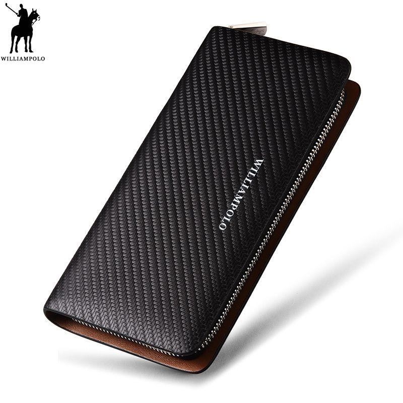 WILLIAMPOLO Original marque 100% en cuir portefeuille hommes célèbre Long tricot modèle portefeuille hommes luxe marque portefeuilles #118