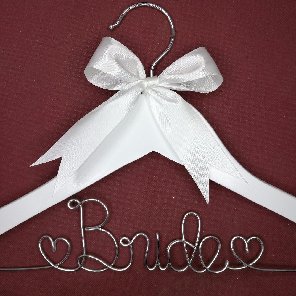 Personalized Wedding Hanger, bridesmaid gifts, name hanger, brides hanger custom Bridal Gift white hanger with bowknot