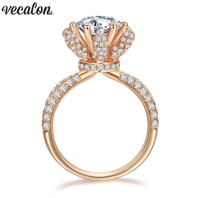 Vecalon Flower Jewelry Rose Gold Filled Anniversary ring 5A Zircon Cz 925 silver Engagement wedding Band rings for women Bridal