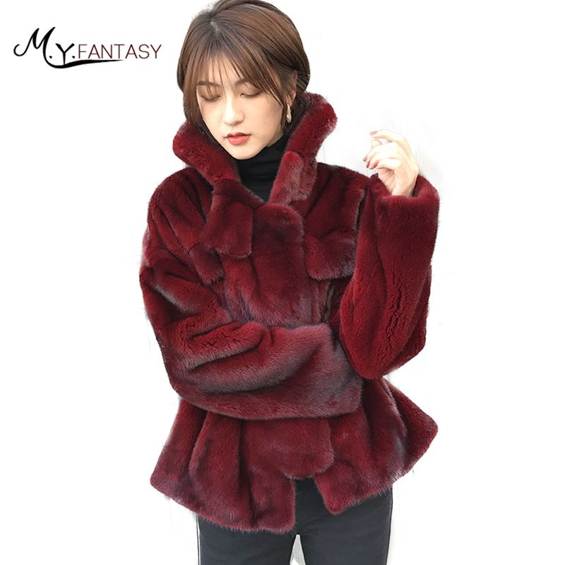 M.Y.FANSTY 2017 Winter Mink Coat Natural Real Fur Coat Long Sleeve Pocket Loss Causal Women Import Velvet Wine Red Mink Coats