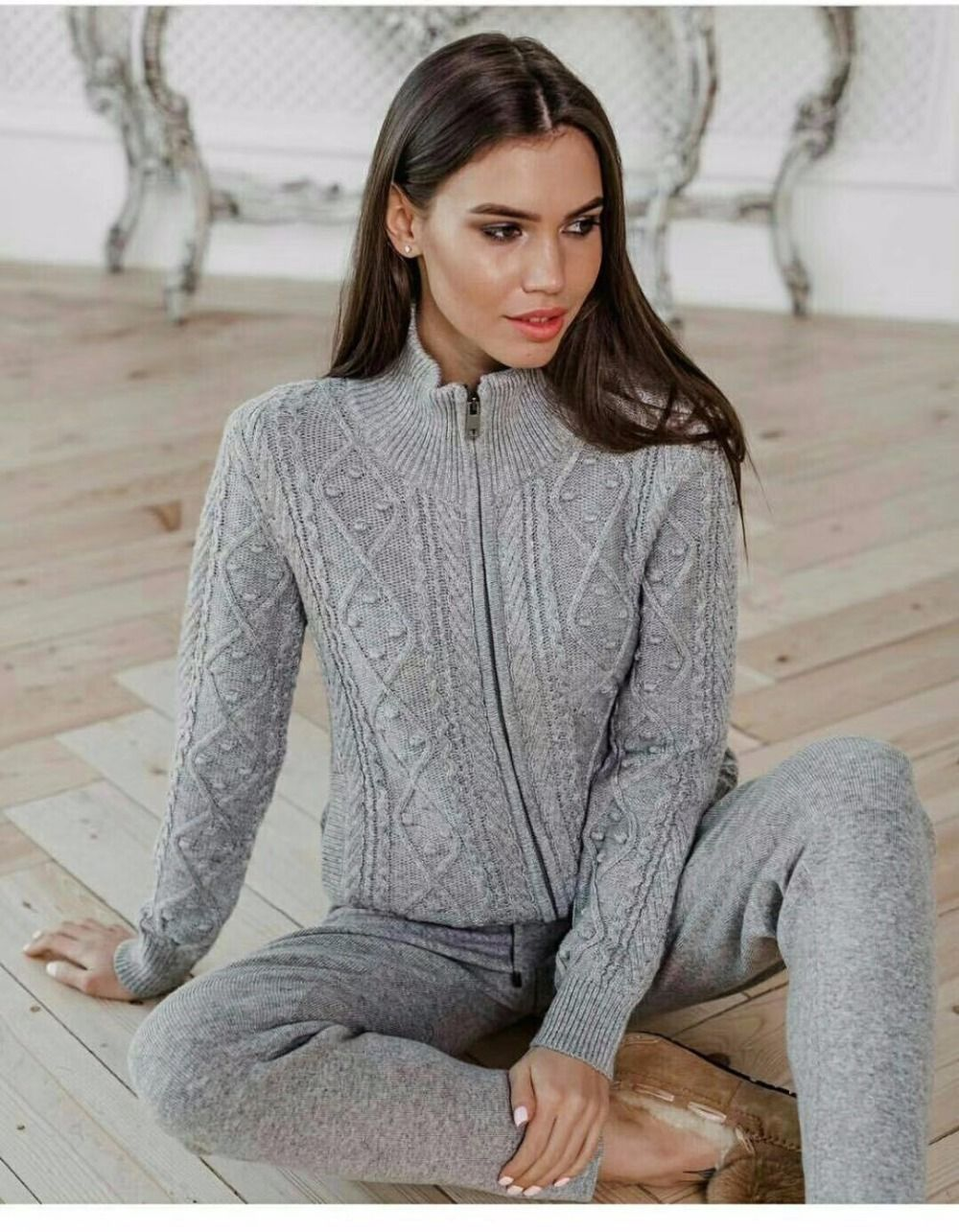 Fashion brand Winter Woolen and Cashmere Knitted warm Suit Twist knit Sweater + Mink Cashmere Trousers Leisure Two-piece wj1560
