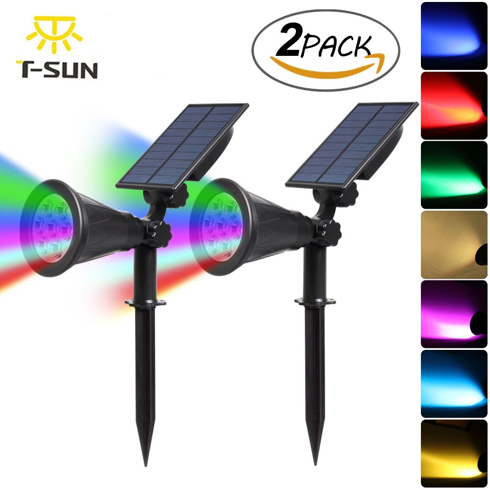 T-SUNRISE 2PACK 7 LED Solar Spotlight Auto Color-Changing Waterproof Outdoor Solar Lamp RGB <font><b>Garden</b></font> Solar Light led Waterproof
