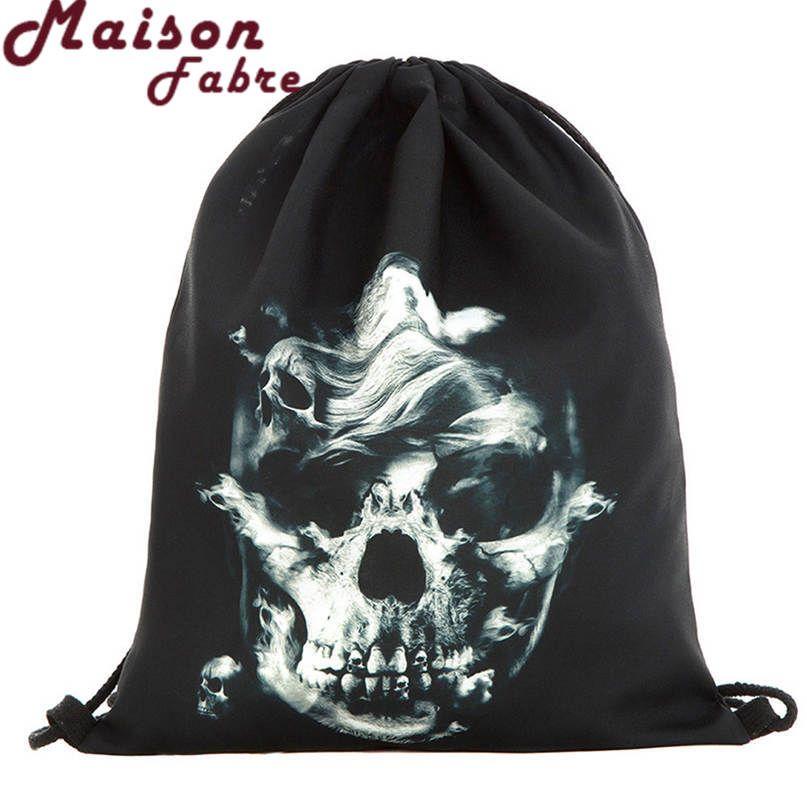 Mejor Oferta Bolsas Moda de Halloween Paquete de Regalo Bolsa de Caramelos bolsillo de Impresión 3D Bolsa Mochila Con Cordón Caliente Regalos Aug28 Gota nave