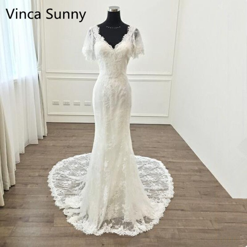 Vinca Sunny Elegant V Neck Appliques Lace Mermaid Wedding Dress Count Train Backless Trumpet Bride Dress 2018