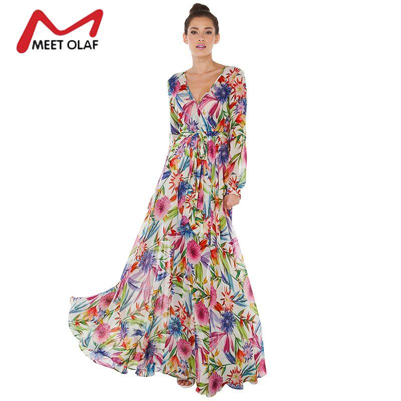 1Pc Women Tropical floral Print Deep V Long Sleeve Maxi Dress Wrap Tie Waist Long Lantern Sleeve Boho Beach Wear Dresses 1B058