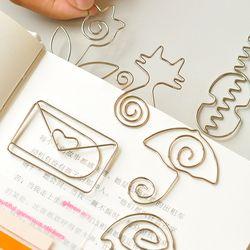 Metal Cámara gato corazón Rosa forma sobre papel color plateado divertida de kawaii marca clip