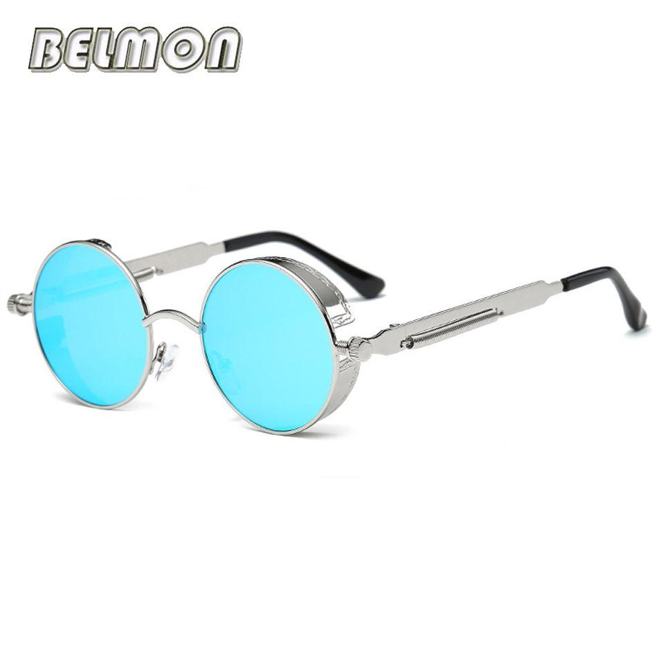 Steampunk Lunettes lunettes de Soleil Hommes Femmes Marque De Luxe Ronde Lunettes de Soleil Pour Dames Rétro Cercle Vintage Mâle Femelle RS291