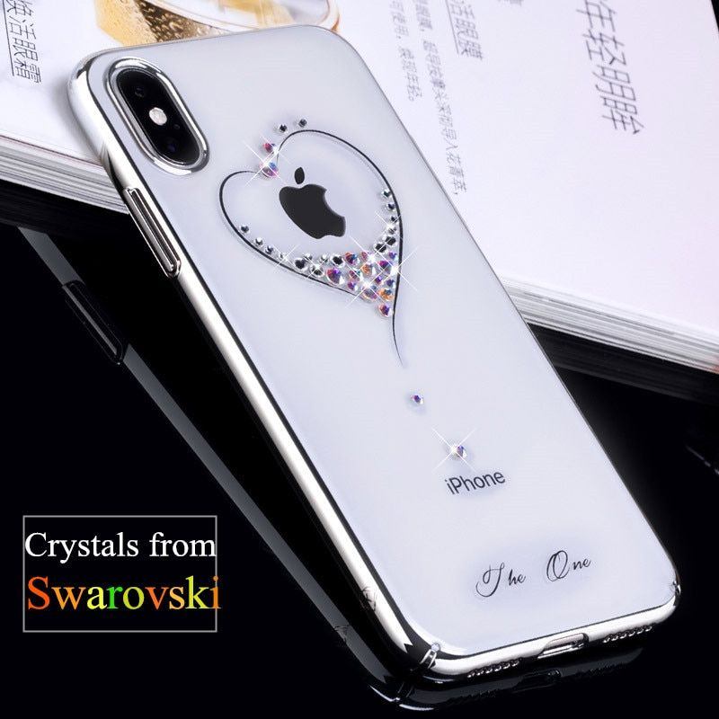 KINGXBAR for iPhone X Case Swarovski Element Crystals Diamond Plated Hard Crystal Case for iPhone X Cover iPhoneX Phone Coque