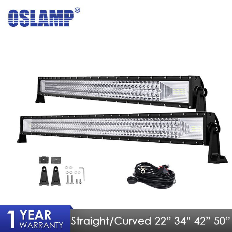Oslamp Light Bar 22 34 42 50 Straight Curved Work Light Fit 4x4 Truck ATV RZR Trailer Car Roof Offroad Driving LED Bar Light