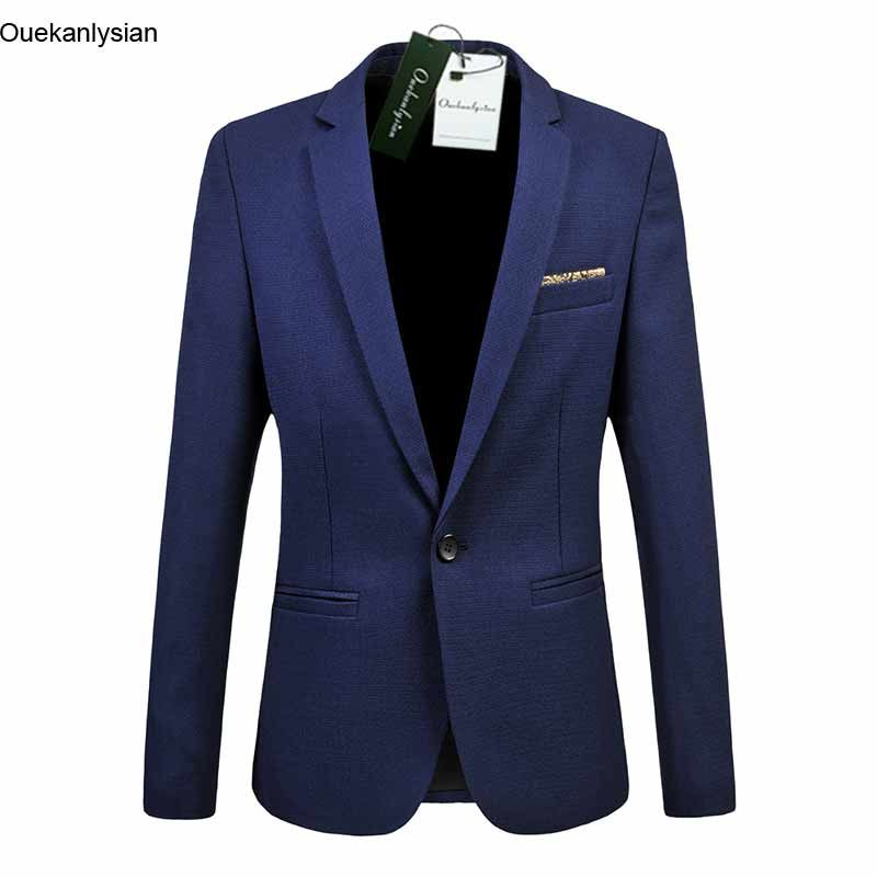 Ouekanlysian Men's Suit Jacket Slim Fit Formal Blazer Long Sleeve Social Business Dress Suit Coat Size M-5XL Black Navy blue